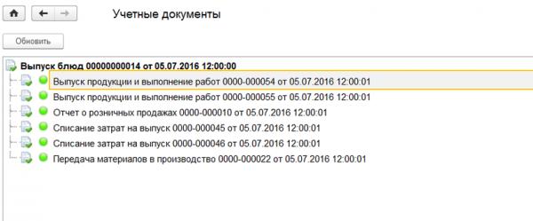 Документы в 1С Общепит и модуль для ERP