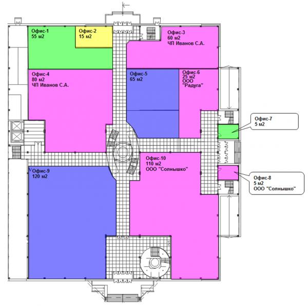 Поэтажный план Аренда и управление недвижимостью для ERP