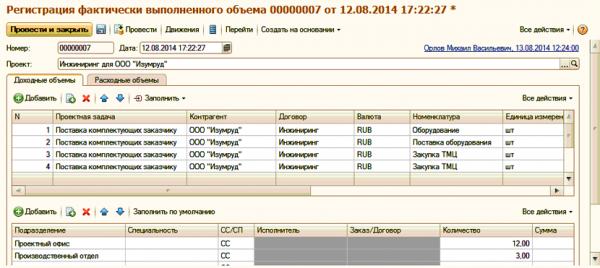 Регистрация фактических данных в ERP Управление проектами